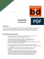 Bid Manager Job Description