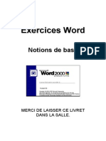 Word 2000 - Livret d'Exercices 1