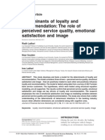 Determinants of Loyalty and Recommendation- The Role of Perceived Service Quality, Emotional Satisfaction and Image