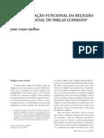 A Diferenciação Funcional Da Religião Na Teoria Social de Niklas Luhmann