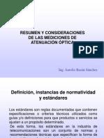 Resumen y Consideraciones de Las Mediciones Ópticas