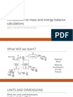 Introduction to Mass and Energy Balance Calculations