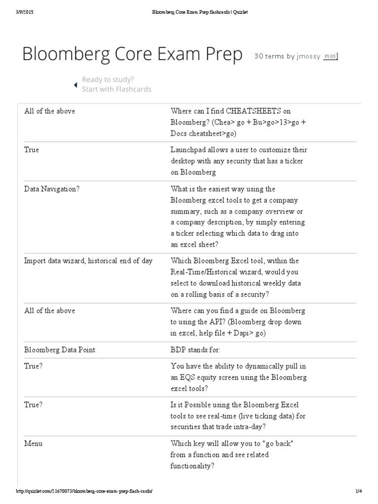 Bloomberg Core Exam Prep Flashcards _ Quizlet | Microsoft