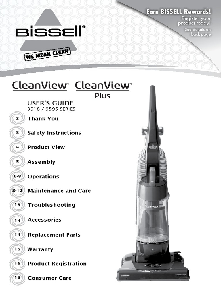 BISSELL CleanView & CleanView Plus Vacuum With OnePass Technology 3918 &  9595 Series - User's Guide | Vacuum Cleaner | Housekeeping