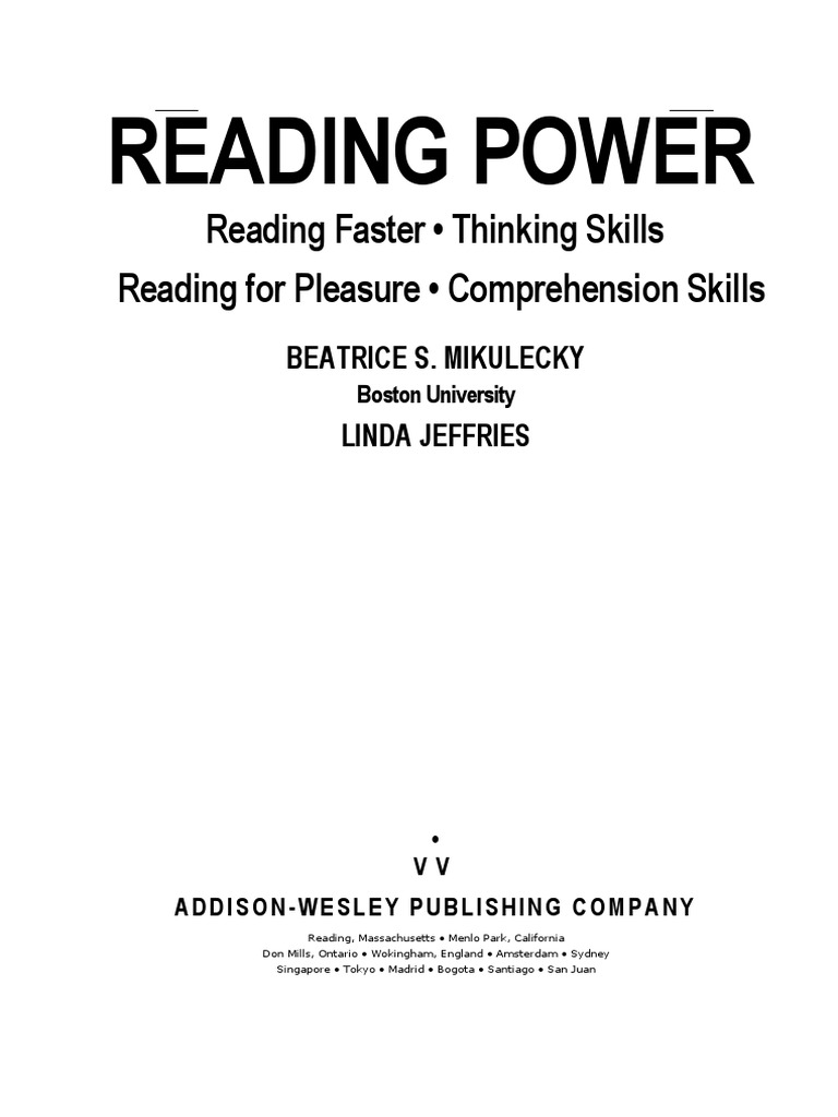 Reading Power Reading Process Reading Comprehension