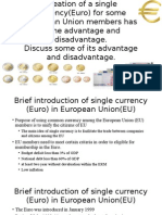 the risk and benefit using single currency Euro among EU member