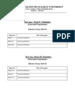 M.com.-I,II Advanced Statistics (External)