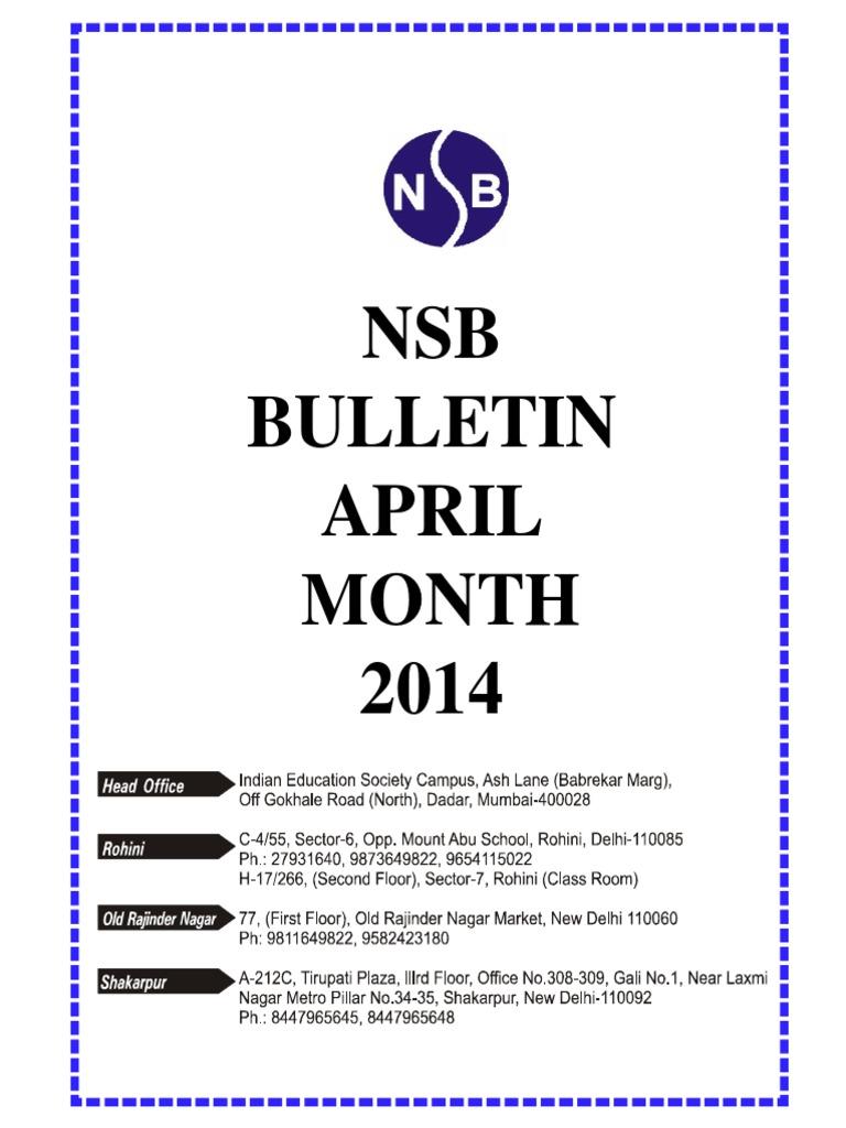 Nsb Bulletin April 2014 | Reserve Bank Of India | Perubahan