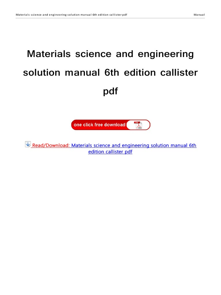Solution Manual 6th Edition Callister | Engineering | Portable Document  Format