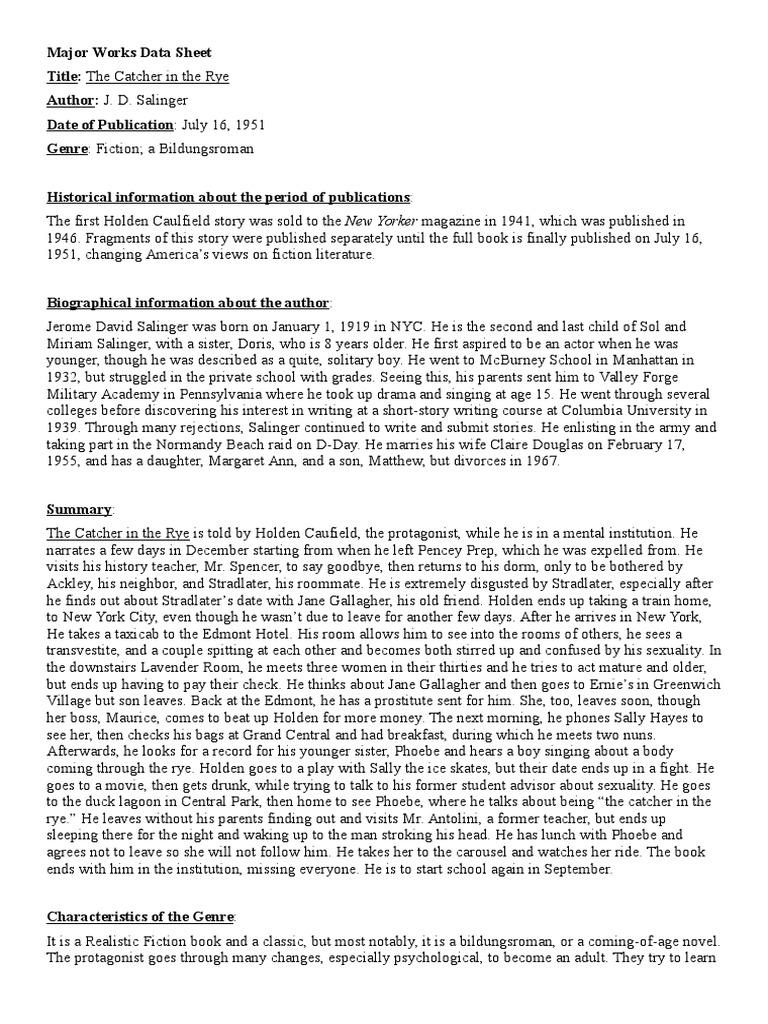 Worksheets Catcher In The Rye Worksheets catcher in the rye major works data sheet j d salinger