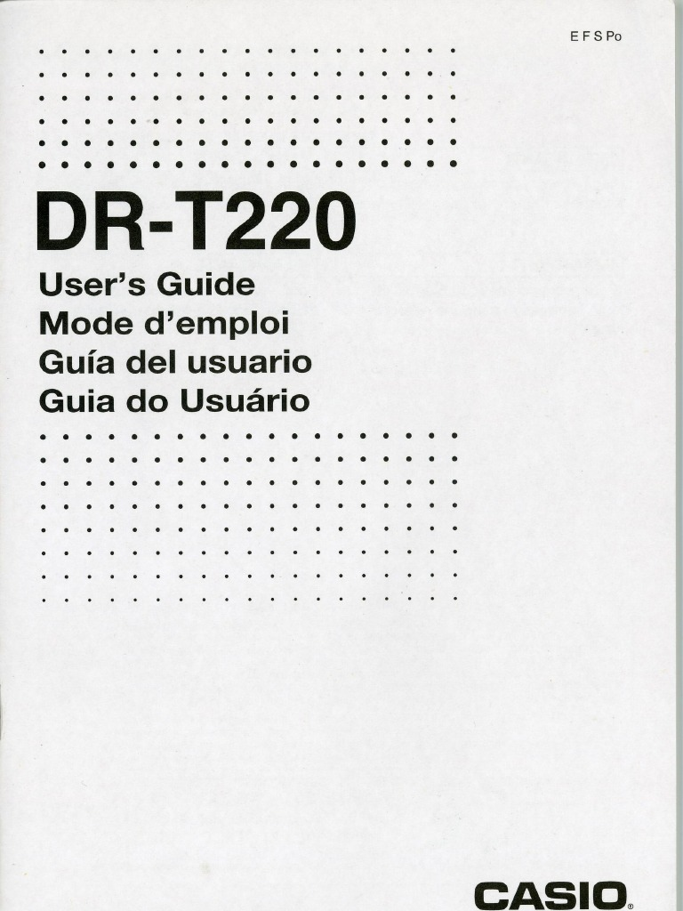 Casio DR-T220 Instructions (Thermal Printing Calculator