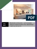 Índice Manual Ufcd 3427 - Actividades Técnico-Administrativas, Segurança e Serviço de Noite