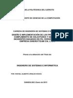 Diseño e Implementación de Los Procesos de, Cumplimiento de Solicitudes y Gestión de Incidentes Basados en ITIL