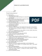 Summary of Class Presentation (All)