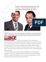 BOI Recommends Criminal Prosecution of Ex-SriLankan Airlines Chairman & CEO