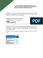 Encuesta Sobre La Influencia Del Clima Organizacional en La Satisfacción Laboral en Las Ventas de Materiales de Construcción de Las Pymes de La Ciudad de Tacna en El Año 2014