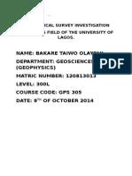 Taiwo Seismic Geophysical Survey Investigation