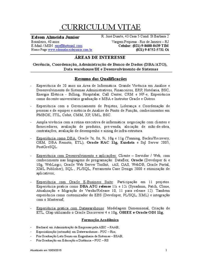 Contemporáneo Curriculum Vitae Para El Desarrollador Sql Molde ...