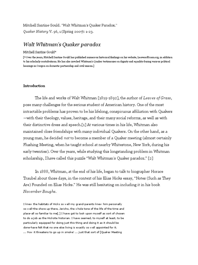 walt whitmans life and works essay Walt whitman and emily dickinson both had different and similar views, which influenced how they wrote their poetry their social context, life experiences, and gender are reflected in their poetry emily dickinson focused a lot on death and her struggles of being a woman during her time.
