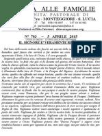 Lettera alle Famiglie - 5 aprile 2015