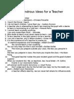 Some Wondrous Ideas for a Teacher