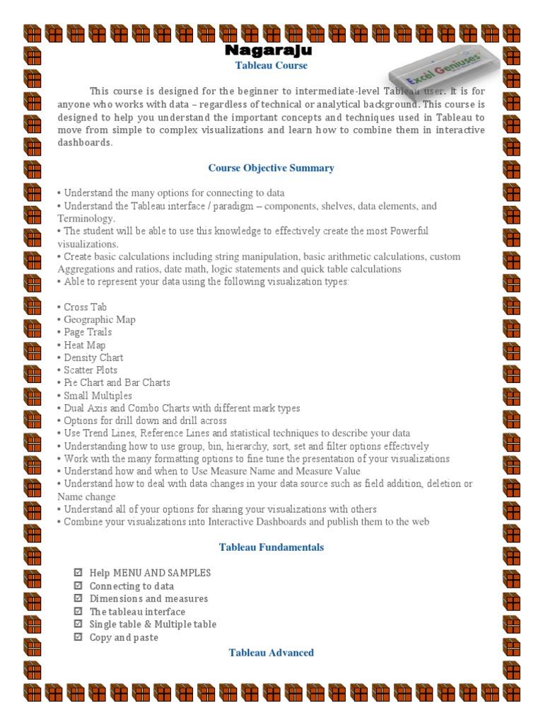 Tableau Course Description   Visualization (Graphics