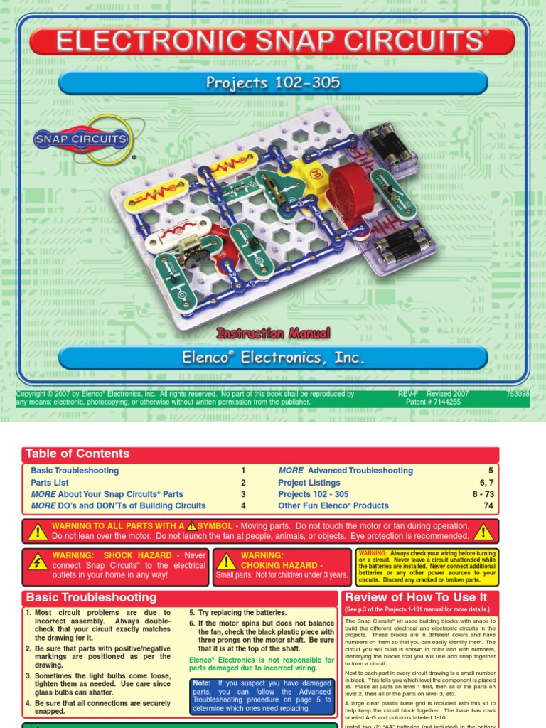 Snapcircuitprojects102 305 Bipolar Junction Transistor Series Snap Circuitsr By Elencor Replacement Parts And Parallel Circuits