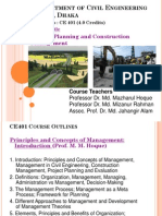 CE 401 Course Outline( Management Concepts and Human Factors) 17 Sept 2014 M M Hoque 2014 Final