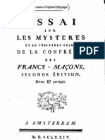 Reece W H - An Essay on the Mysteries of Free Masons Dated 1774 Translation From French - 1862