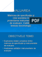 matricea evaluarii