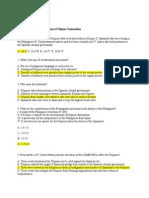 Answers For L01 L07 Rizal Philippines Politics