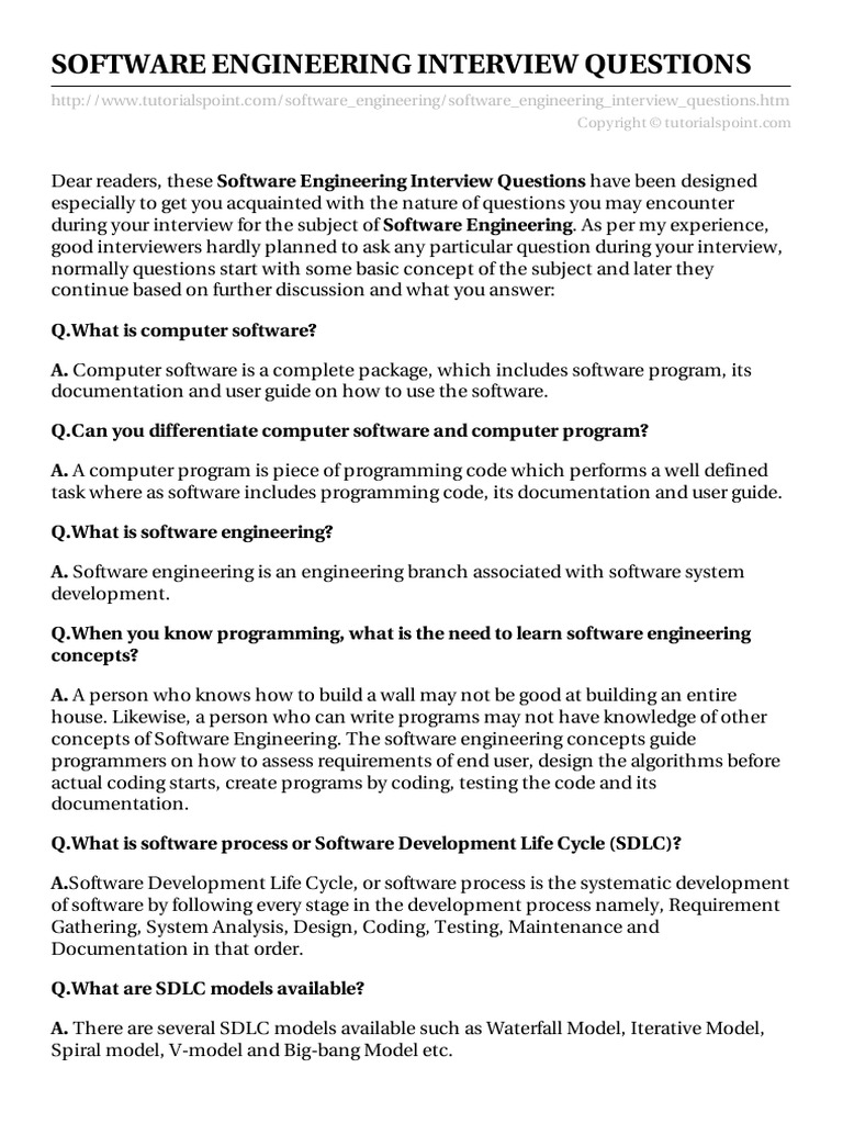 Software Engineering Interview Questions Software Development - Requirement documentation in software engineering