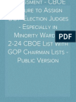 Assessment - CBOE Failure to Assign GOP Election Judges - Especially in Minority Wards - 2-24 CBOE List With GOP Chairman Lists - Public Version
