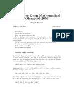 Singapore Open Mathematical Olympiad 2009