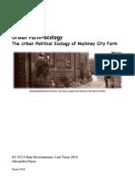 Urban Farm Acology the Urban Political Ecology of Hackney City Farm