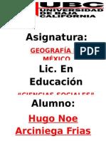 Hugo Noe Arciniega Frias - UBC.geografia de Mexico