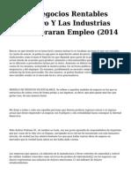 <h1>Los 33 Negocios Rentables Del Futuro Y Las Industrias Que Generaran Empleo (2014</h1>