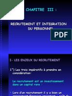 Recrutement et intégration du personnel