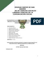 _situación de La Investigación de La Comunicación en Bolivia y Su Relación Con El Campo de Estudio de La Comunicación