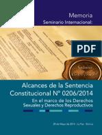 Memoria Seminario Internacional Alcances de La Sentencia Constitucional 206/2014