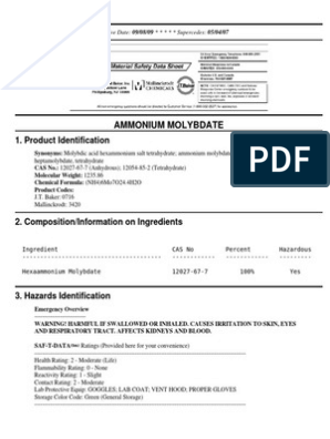 Msds Ammonium Molybdate Personal Protective Equipment Breathing