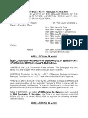 Barangay Ordinance Astray Animals | Local Ordinance | Government