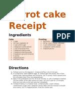 Carrot Cake Receipt
