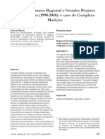 Werner, Débora. Desenvolvimento Regional e Grandes Projetos Hidrelétricos (Complexo Madeira)