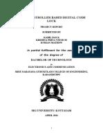 Microcontroller Based Digital Code Lock Report2