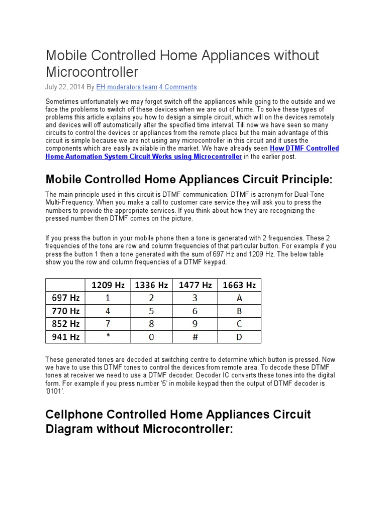 Mobile Controlled Home Appliances Without Microcontroller Telephony Communication Dtmf Decoder Using Mt8870de Equipment Electronic Circuits