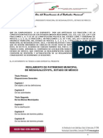 Reglamento de Patrimonio Municipal de Nezahualcoyotl