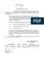 Loss Affidavit