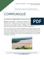 Communiqué de presse - Déplacement du Président de la République dans l'Ogooué-Maritime. La route de l'impossible, là sous nos yeux.