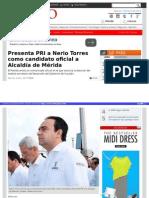 7-04-2015 Presenta PRI a Nerio Torres como candidato oficial a Alcaldía de Mérida